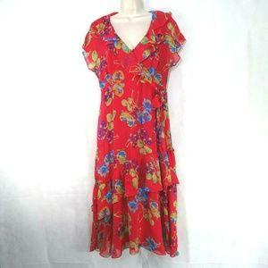 Sundance Ruffle Silk Dress Sheer Lined Size 10